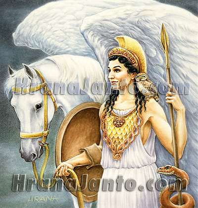 The Goddess Athena, with her horse Pegasus
