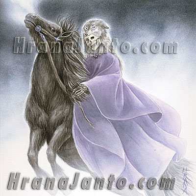 The Goddess Hel, riding her dark horse Helheston
